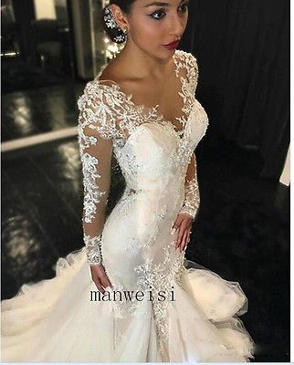Sexy Ivory Mermaid Sweetheart Bridal Gown Wedding Dresses Lace ...