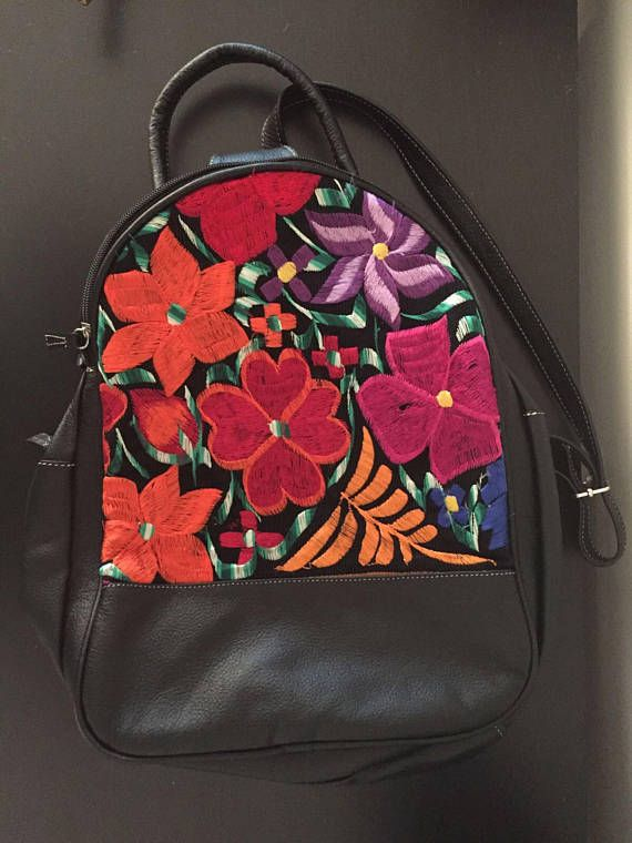 Black leather backpack with colorful artisanal Mexican floral embroidery . 31b3b51ee91d6