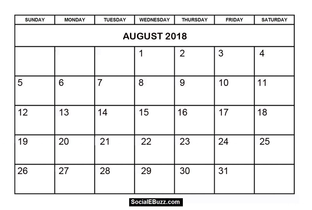 August 2018 Calendar Template In PDF Word Excel Format Free