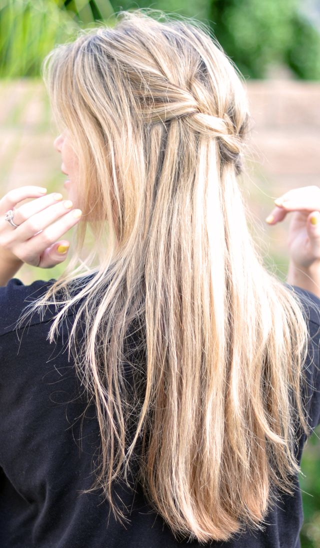 11 everyday hairstyles for french braid french plait diy partial french braid cascading hair tutorial also known as the waterfall braid i aspire to have hair like this long blonde and beautiful ccuart Images