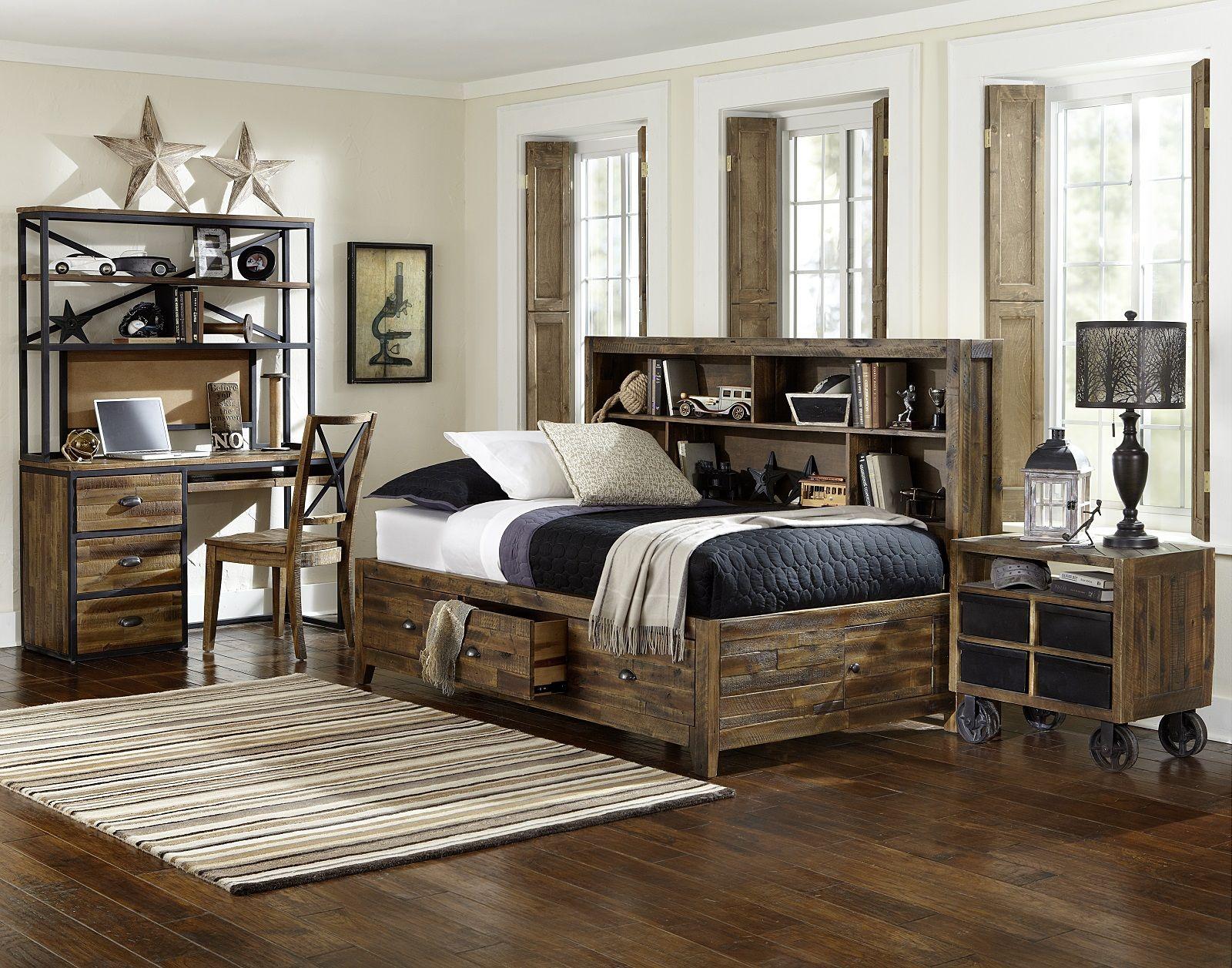 Magnussen Furniture Braxton Lounge Bedroom Set with Storage Rails ...