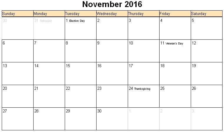 November 2016 Calendar With Holidays Google Search Printable