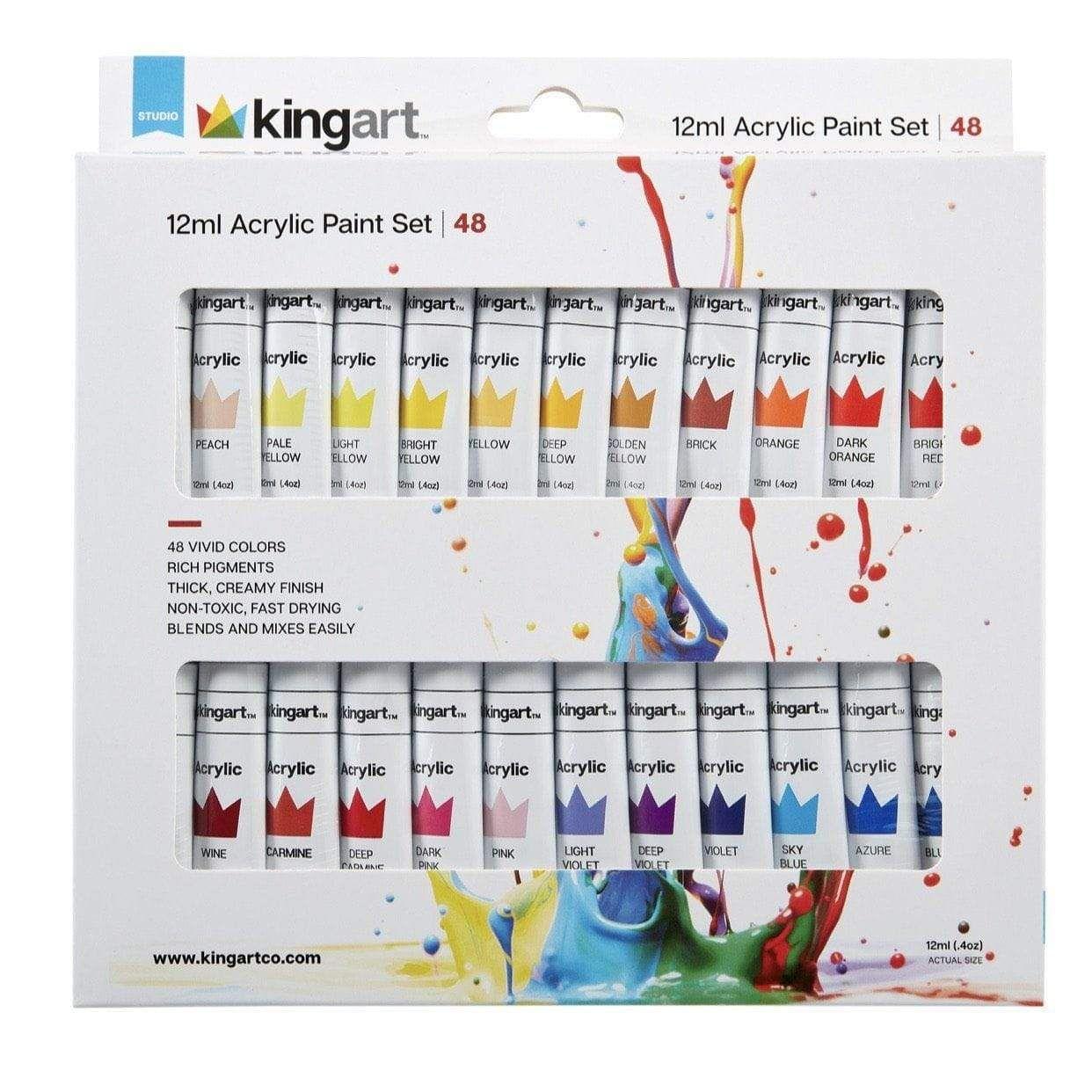Kingart studio acrylic paint 12ml 4oz set of 48