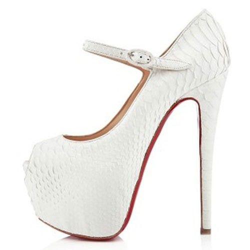 mary jane style white python print red bottom heels | My dream ...