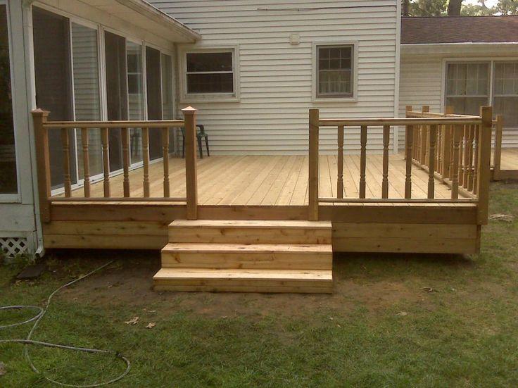 home deck design. Simple  relatively inexpensive cedar deck with aluminum hybrid rails Built by Deck And Basement Company Cedar Decks Pinterest