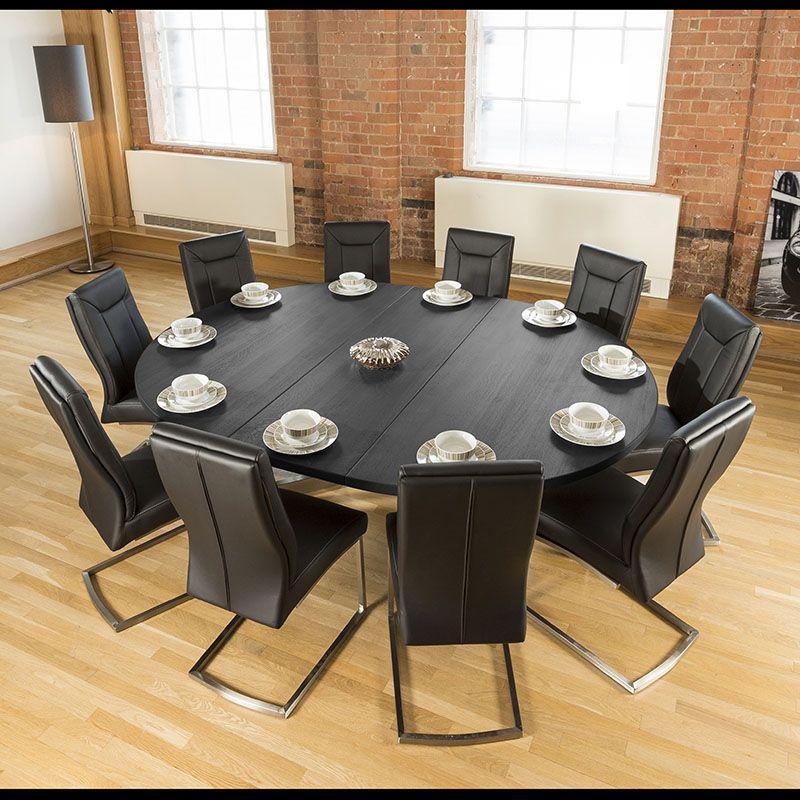 Large Oval 1 8x2 3m Dark Black Oak Dining Table 10 Deep Black