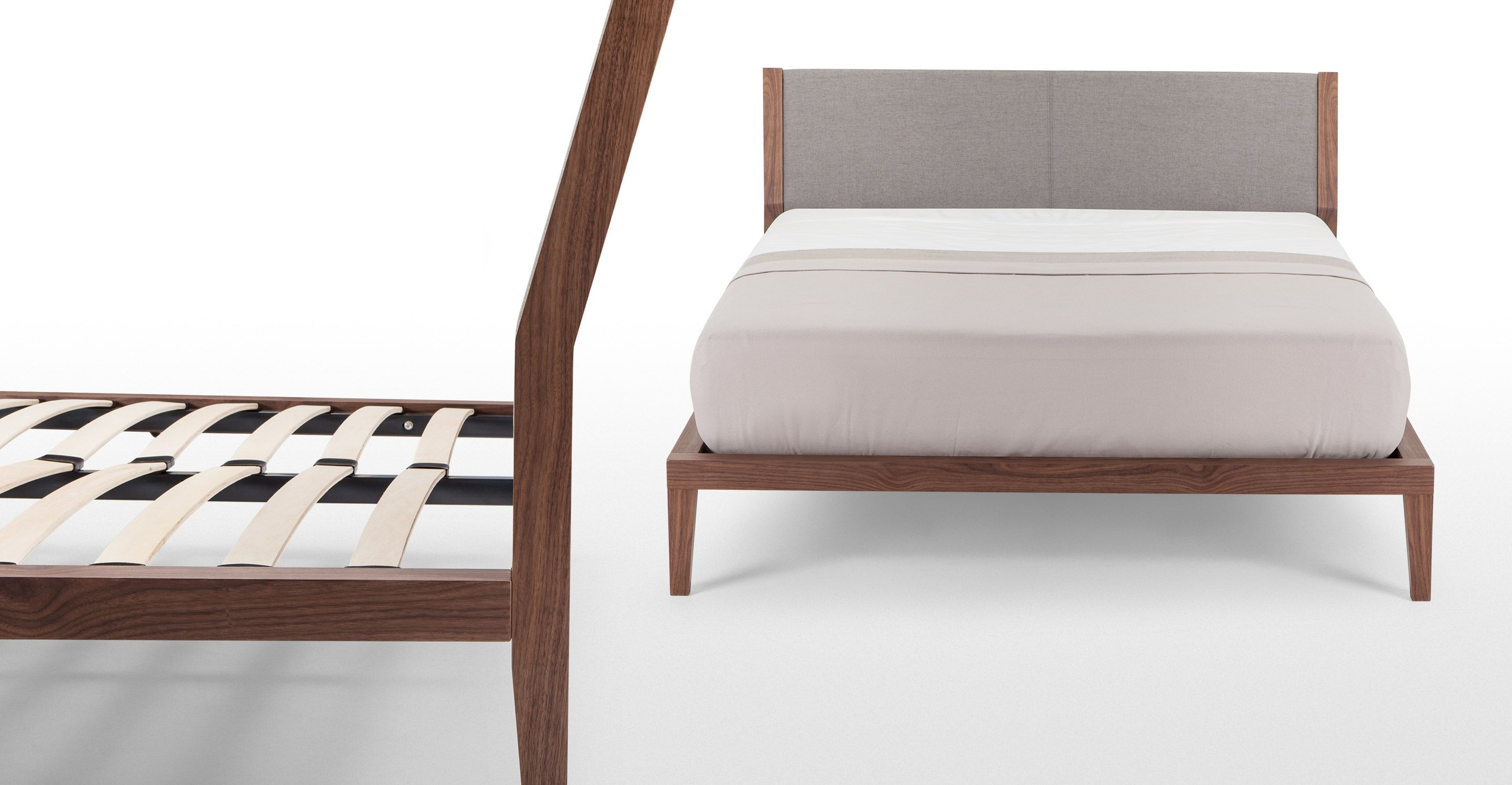 Lansdowne 160cm X 200cm King Size Bed With Storage In Walnut And Heron Grey Made Com Double Bed With Storage Bed Storage King Size Bed