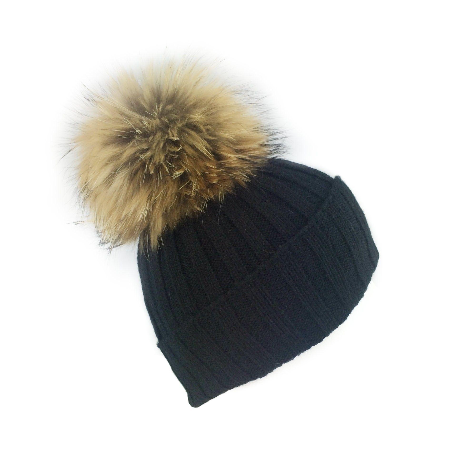dba15b67784 noughtsandkisses Black Giant Fur Bobble Hat