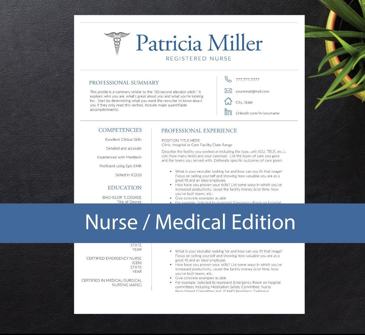 Nursing Resume Template Etsy
