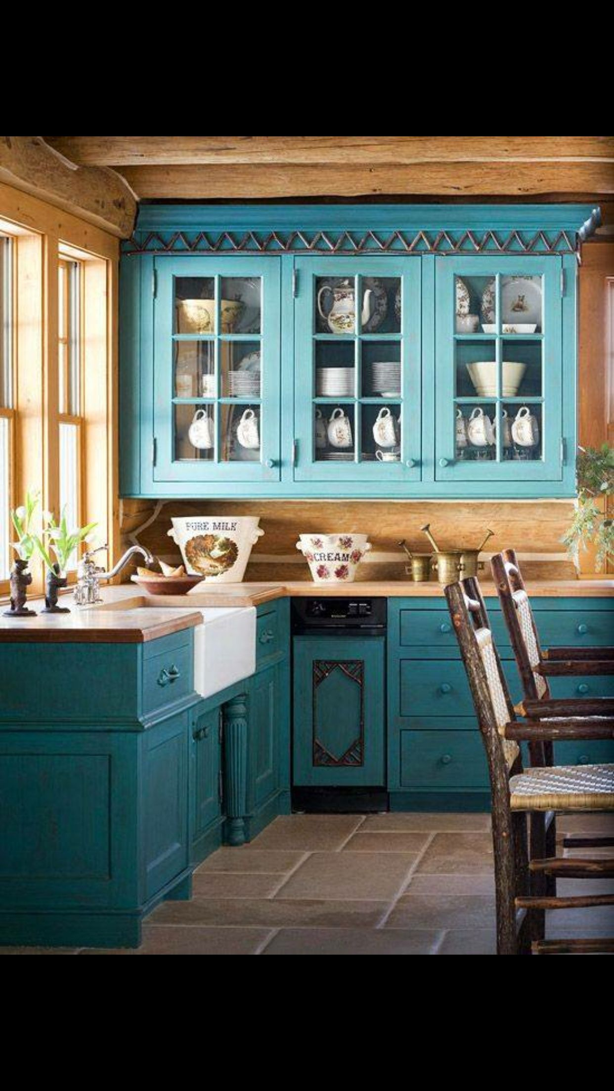 Pin by Katie on Teal Cottage | Pinterest | Kitchens, Cabin and House