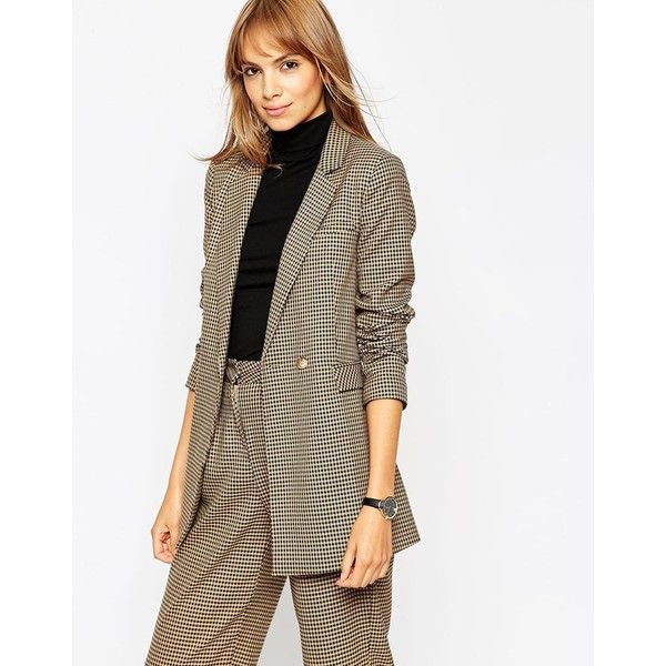f89968d2f ASOS Premium Oversized Blazer in Mini Check Co-ord ($83) ❤ liked on ...