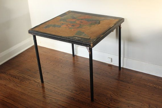 Beautifully Aged Vintage Wood Folding Card Table With Flowers Vintage Wood Wood Furniture