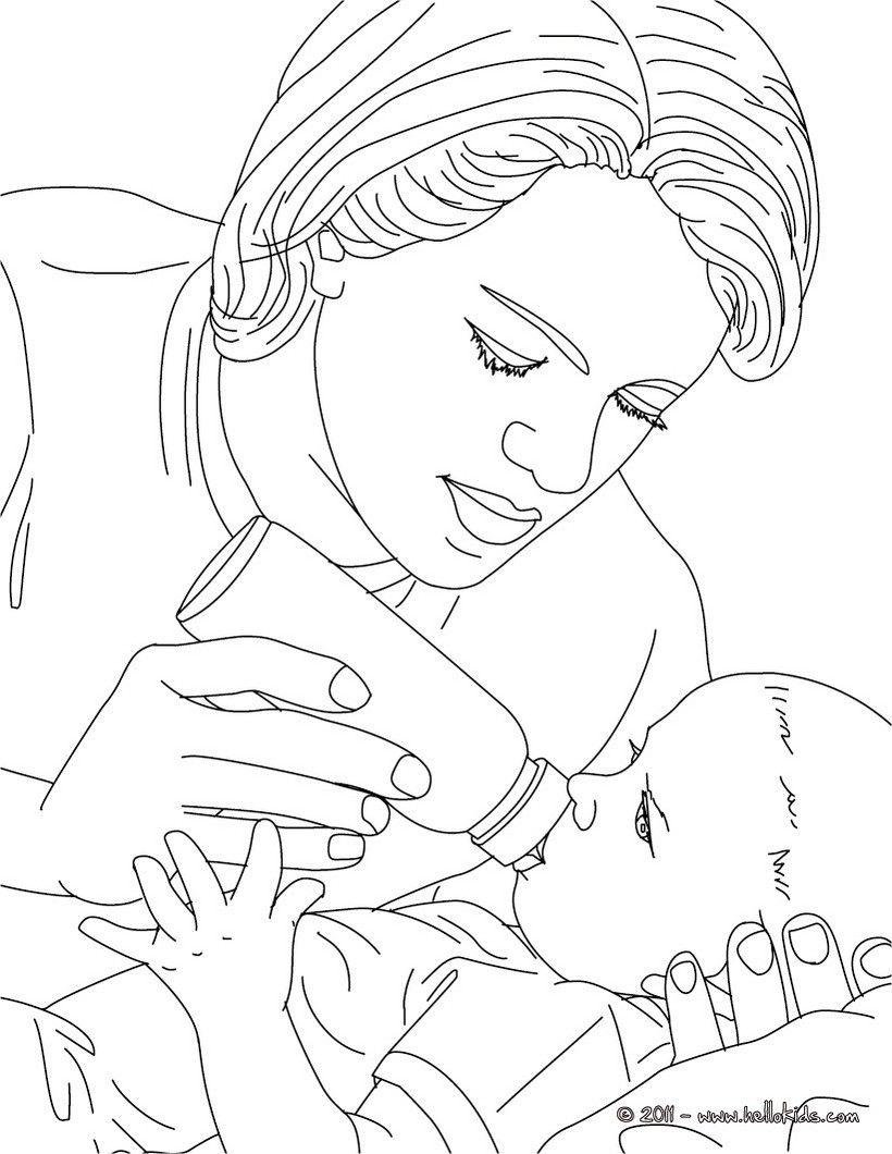 Pediatric nurse bottle-feeding a new born baby coloring page ...