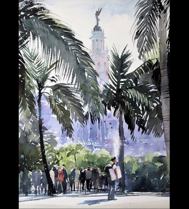 Painter In Havana Watercolor Cuba 風景画 Havana Cityscape