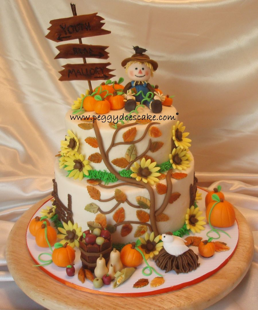 Fall Harvest Themed Birthday Cake By Peggydoescake L