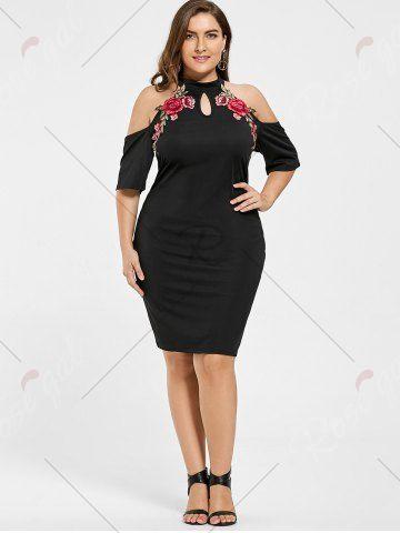 Beden Elbise Modelleri Siyah Kısa Halter Yaka Nakış İşlemeli