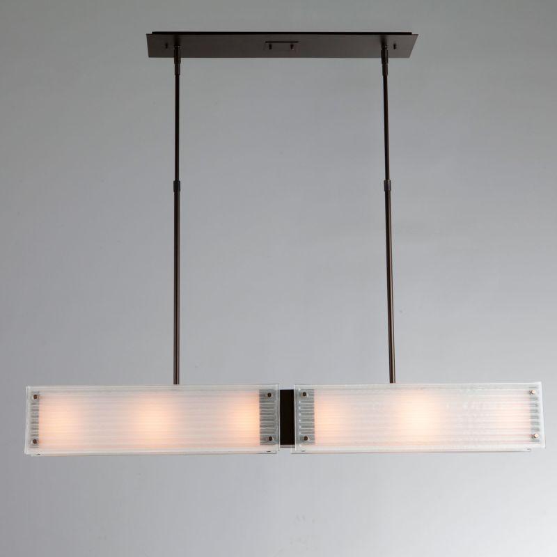 """Hammerton Studio PLB0015-44 Strata 6 Light 44"""" Wide Linear Chandelier with Strat Flat Bronze Indoor Lighting Chandeliers"""
