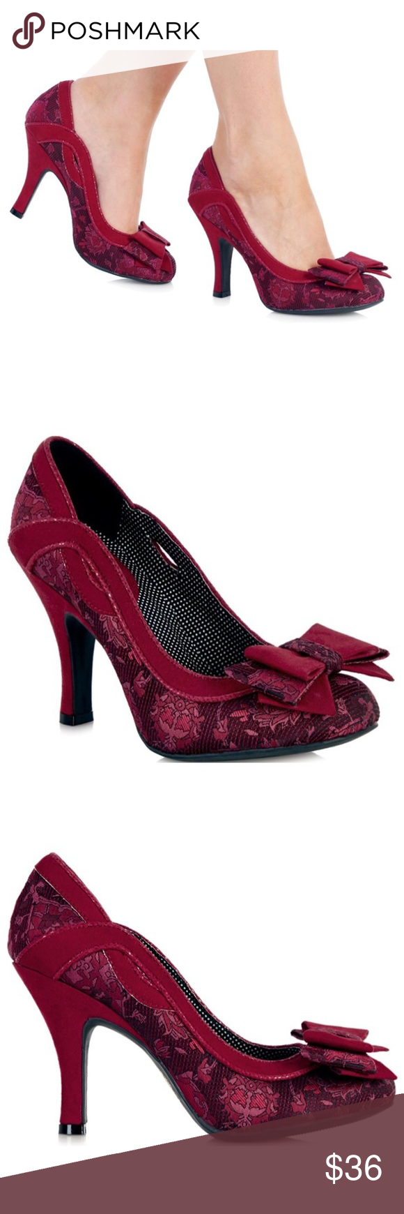 2312cccebb NEW Ruby Shoo Ivy Red Bow Court Heels Such cute and well-made heels!  Perfect for your vintage dresses! Tagged U.K. Size 6, Euro size 39 (see  last pic).
