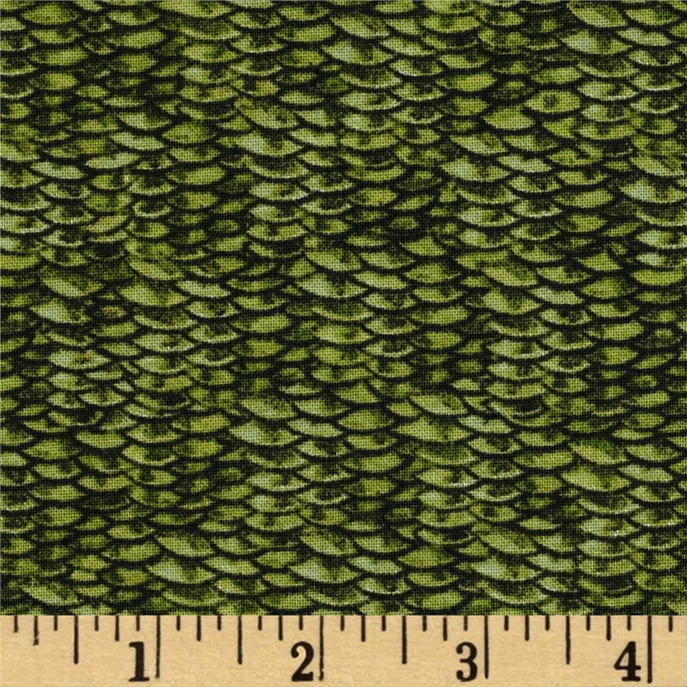 Reel It In Fish Scales Green from @fabricdotcom Designed by Jon Q Wright  for Quilting