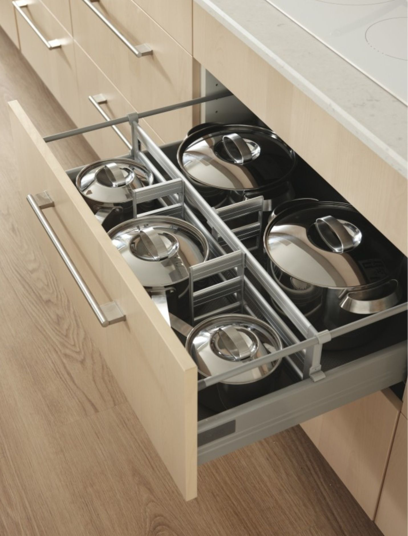 Organised Pan Draws Kitchen Cabinets Fittings Kitchen Cabinet Storage Kitchen Cabinet Accessories