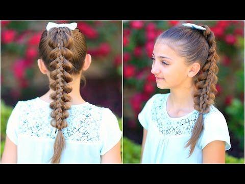 Cute Girls Hairstyles Youtube Stacked Pullthru Braid  Cute Girls Hairstyles  Youtube  Trenzas