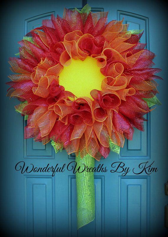 Gerbera Daisy wreath deco mesh flower by WonderfulWreathsKim