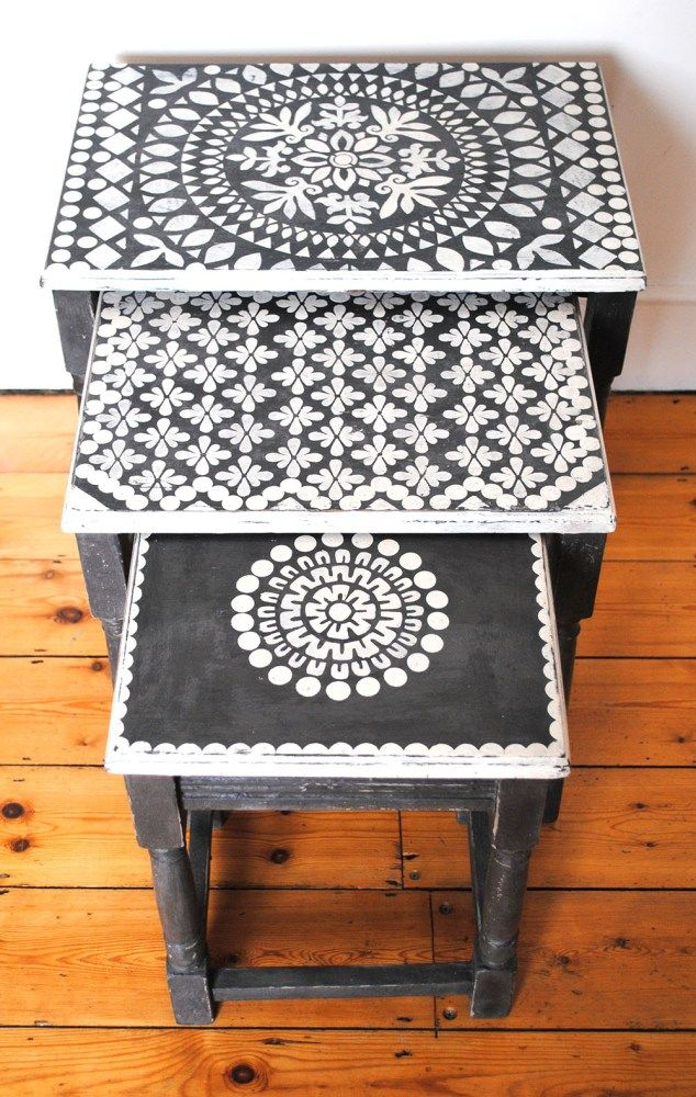 Inspiration: stenciled nesting tables...