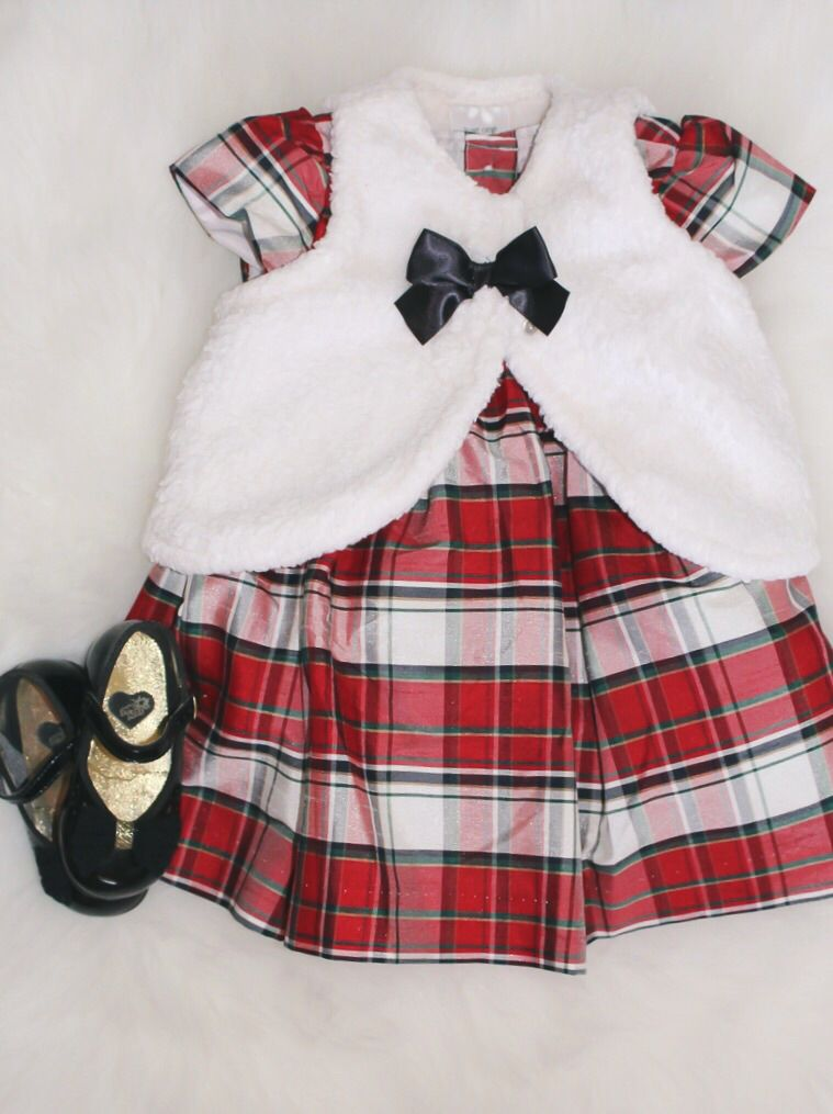 Baby Girl Christmas Outfit; Fur Vest, Plaid Satin Dress, Mary Janes