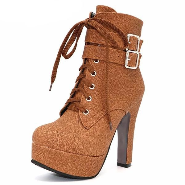 9e043ca081da High Heels lace up Ankle Boots Platform Shoes - Stylish n Trendier ...