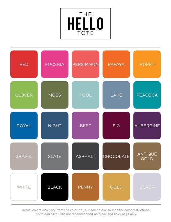 Choose from 25 ink colors for your custom tote from theHELLOtote. #welcomebags #wedding