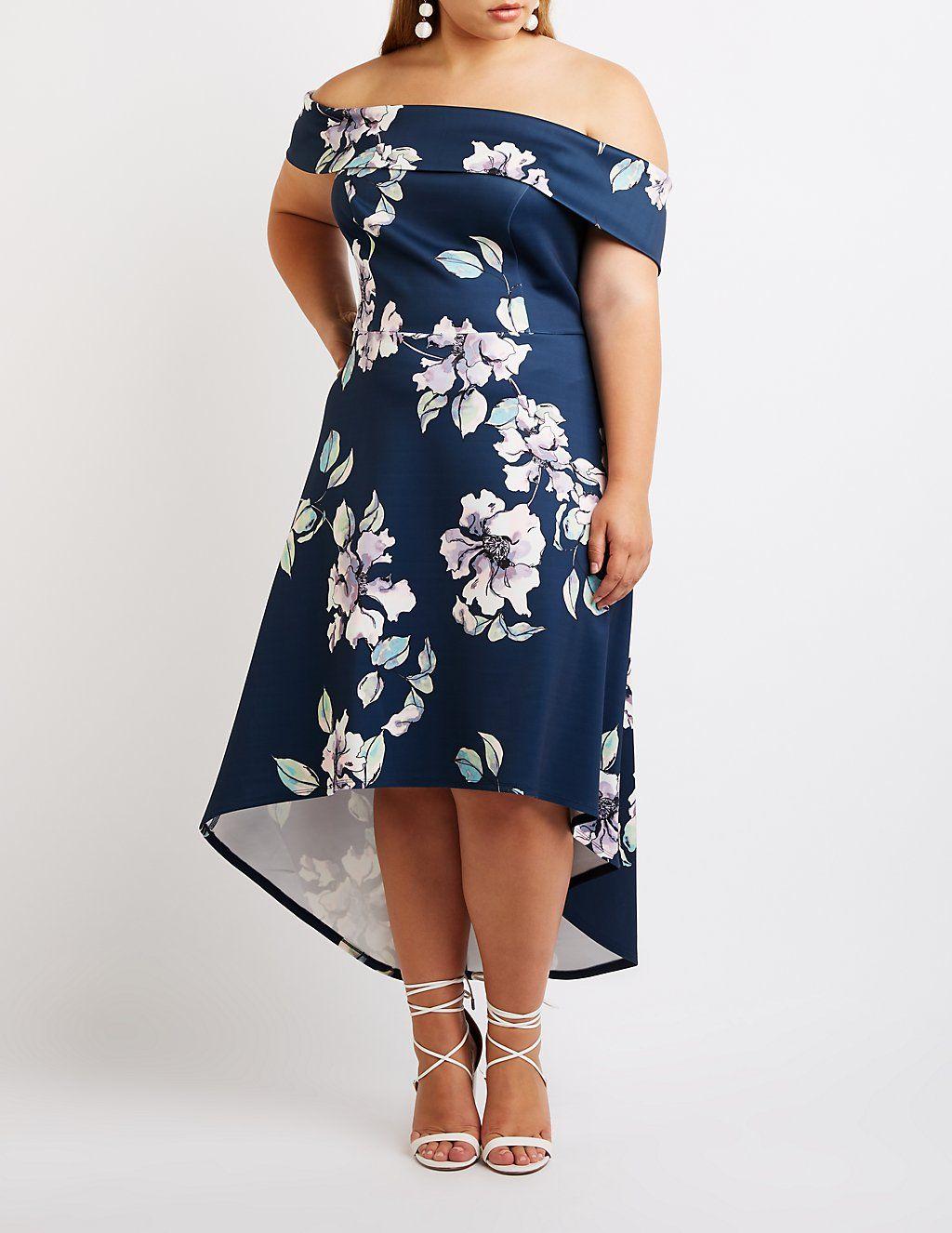 62c021a92f Plus Size Floral Off The Shoulder Maxi Dress