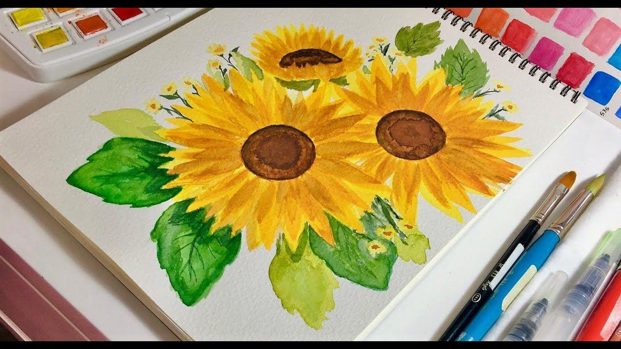 Painting Sunflowers In Watercolor رسم عباد الشمس بالألوان المائيه Youtube Sunflower Art Artwork Make It Yourself