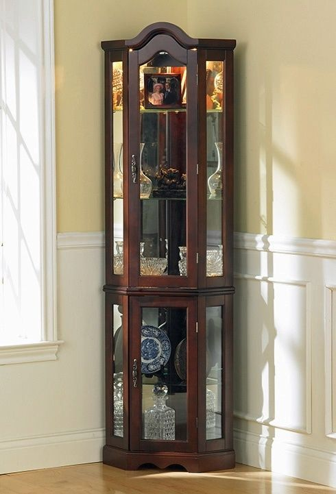 Corner Curio Cabinet with Mahogany Finish, Mirror Back ID 2265 ...