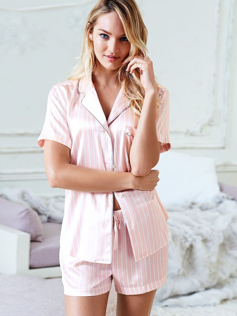Afterhours Satin Boxer PJ - Victoria s Secret - Pink White Stripe  Small bfcaae940