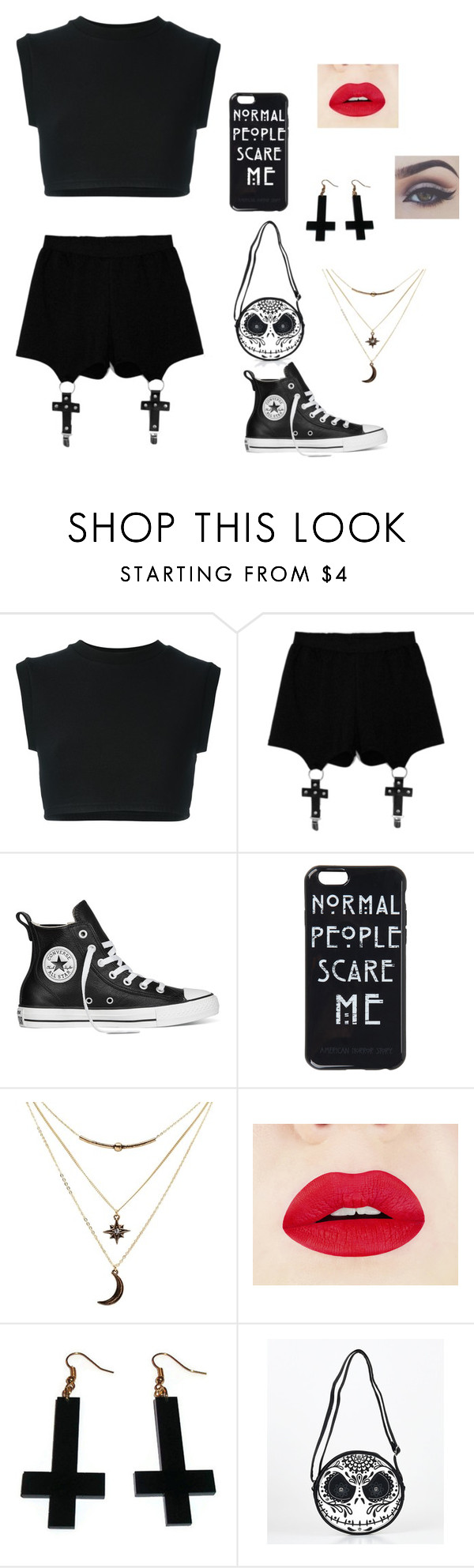 """""""Halloween"""" by elo379 ❤ liked on Polyvore featuring adidas Originals, Chicnova Fashion, Converse, Charlotte Russe and Bellezza"""