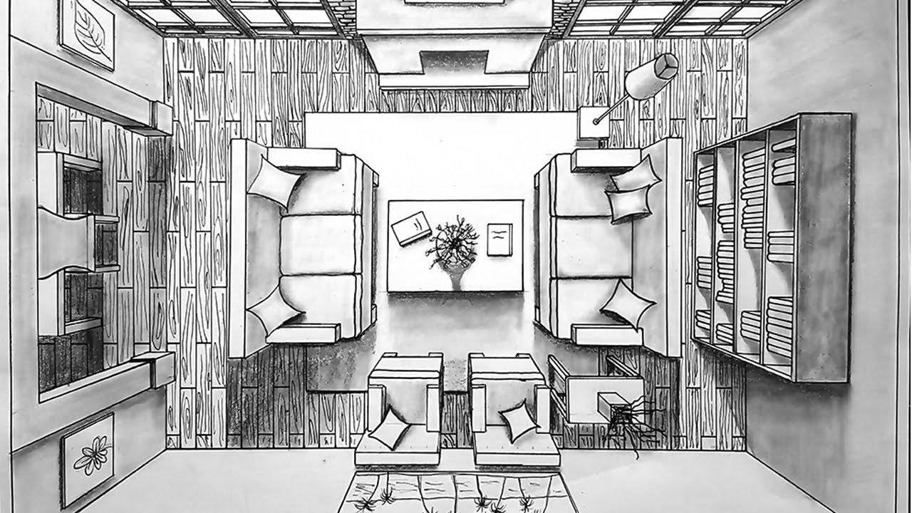 Drawing A Living Room In One Point Perspective Bird S Eye Timelapse Room Perspective Drawing One Point Perspective Interior Sketch