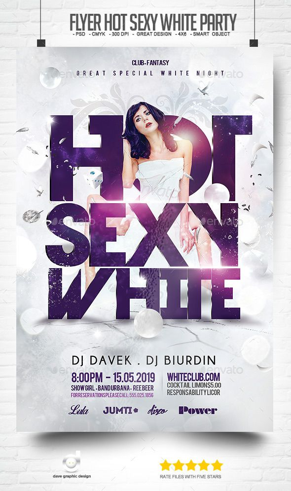 Flyer Hot Sexy White Party Flyer Template Font Logo And Fonts
