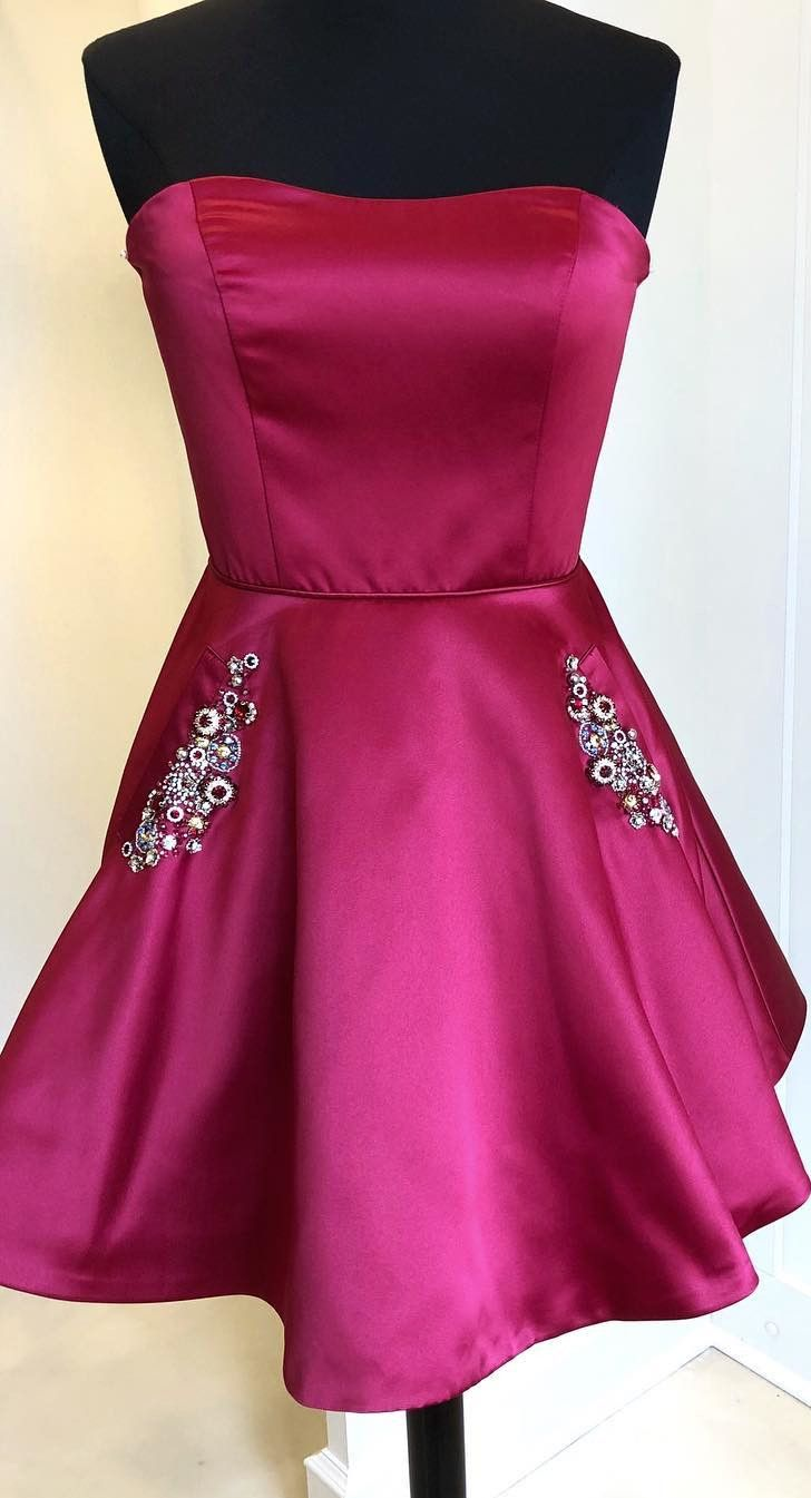 Strapless dark red short homecoming dress with pockets from modsele