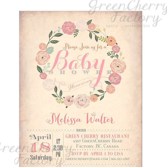 unique baby shower invitation, floral baby shower invite, baby,