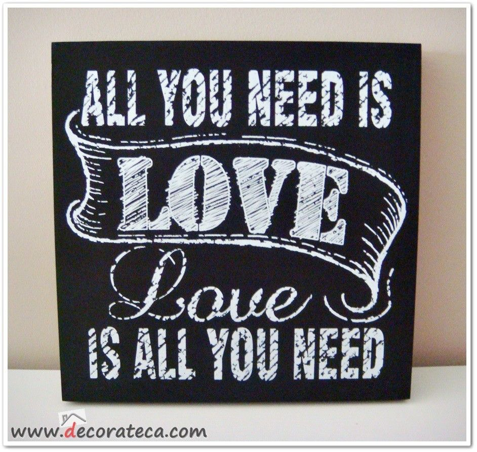 Cuadro de madera negro all you need is love decoraci n for Cuadros de decoracion