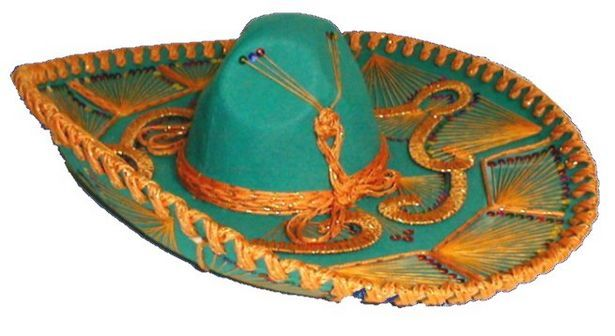 ORANGE MEXICAN SOMBRERO HAT POM POMS WILD WESTERN FANCY DRESS COSTUME ACCESSORY