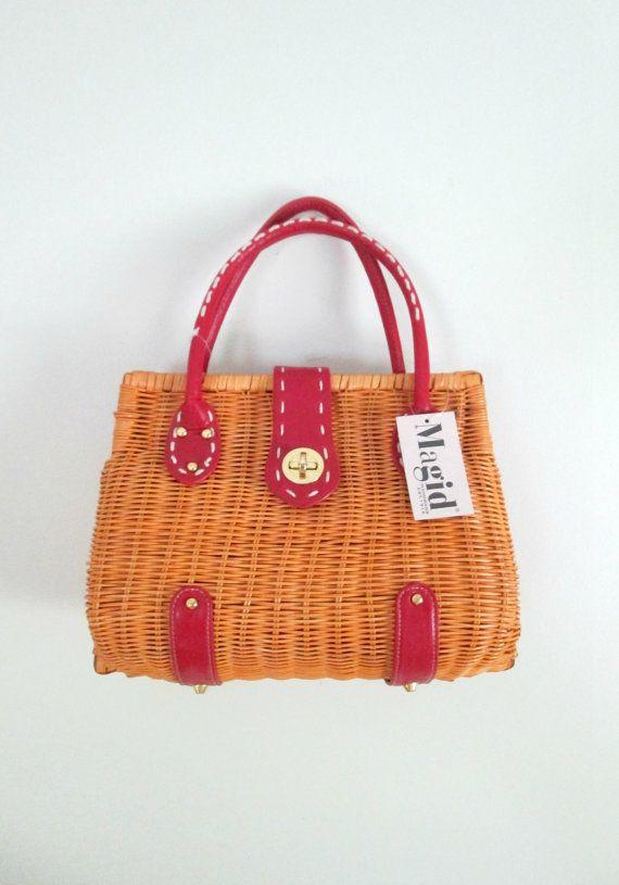 Wicker Straw And Leather Handbag Vintage Magid By Looseendsvintage 38 00