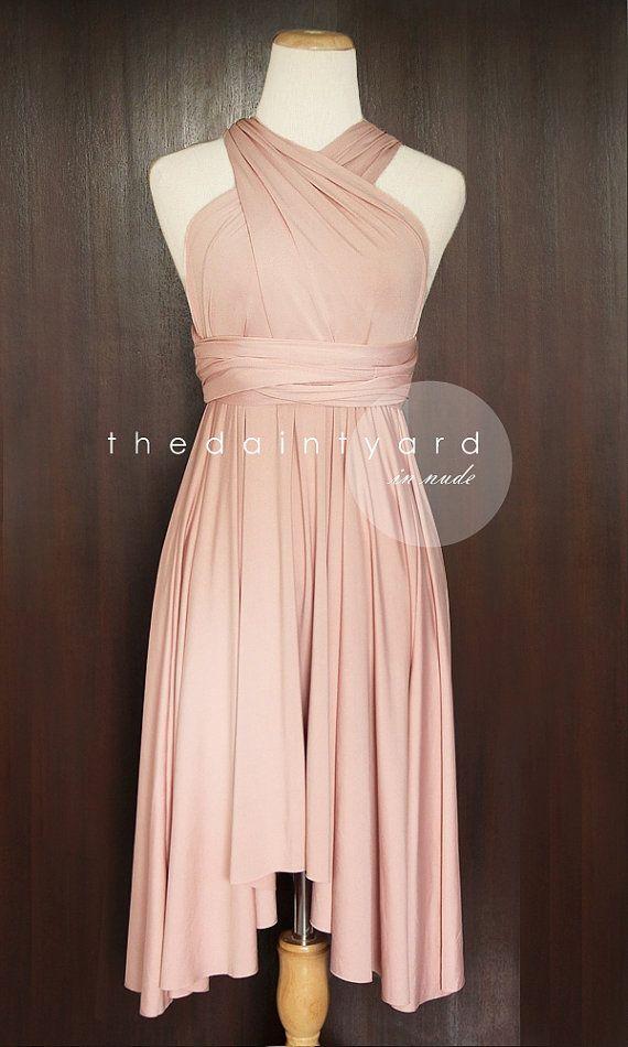 Nude Pink Bridesmaid Convertible Dress Infinity Dress Multiway Dress Wrap  Dress Wedding Dress on Etsy ee839017d385