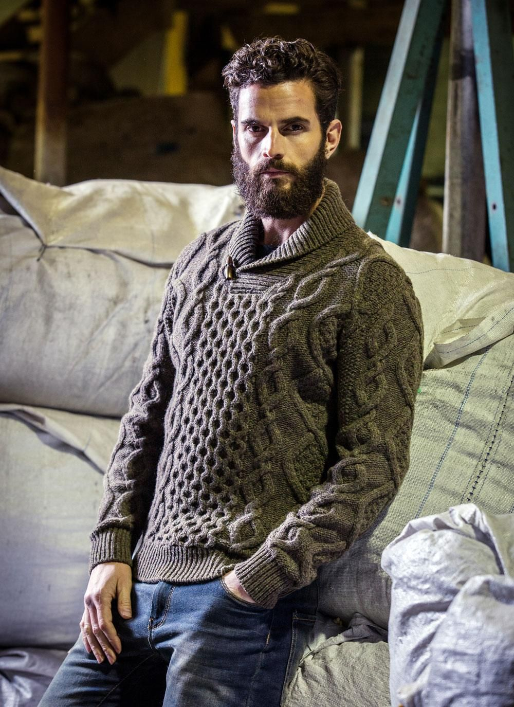 Fisherman Aran Shawl Collar Sweater | Wool sweater men ...