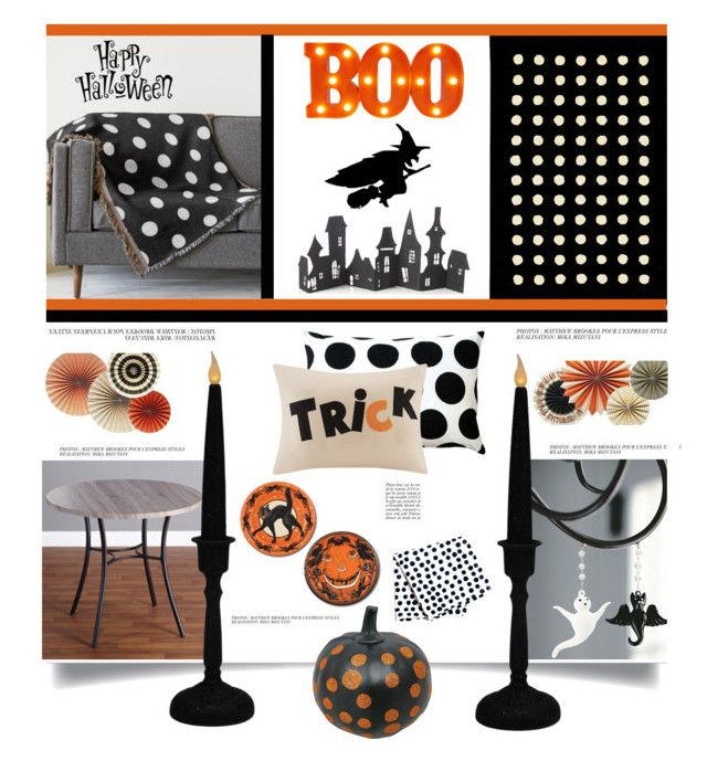 """Halloween Party'"" by dianefantasy ❤ liked on Polyvore featuring interior, interiors, interior design, home, home decor, interior decorating, Pillow Decor, Ballard Designs, Crate and Barrel and Home Decorators Collection"