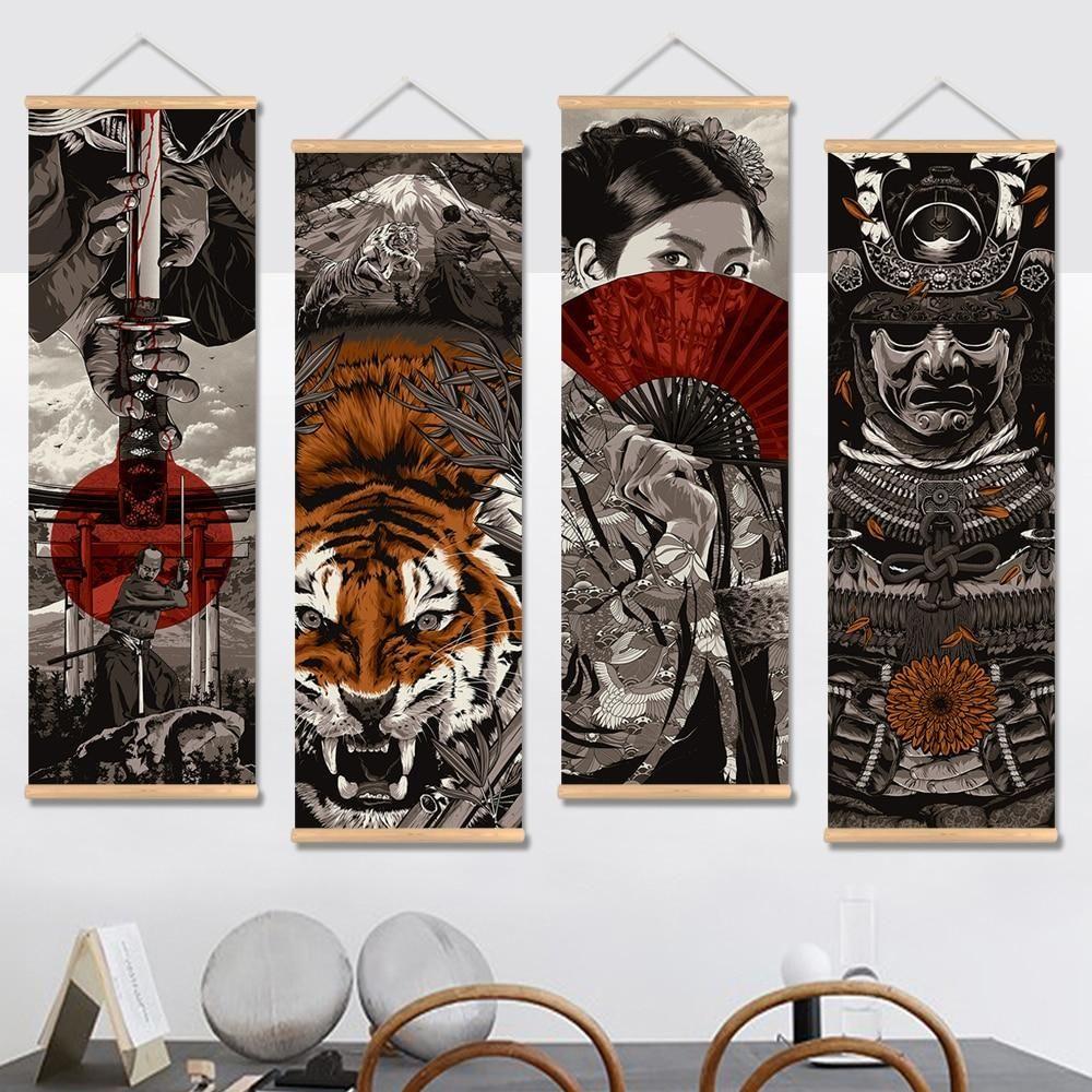 Japanese Samurai Ninja Canvas Drawing Arts Room Wall Decor Poster Painting Print