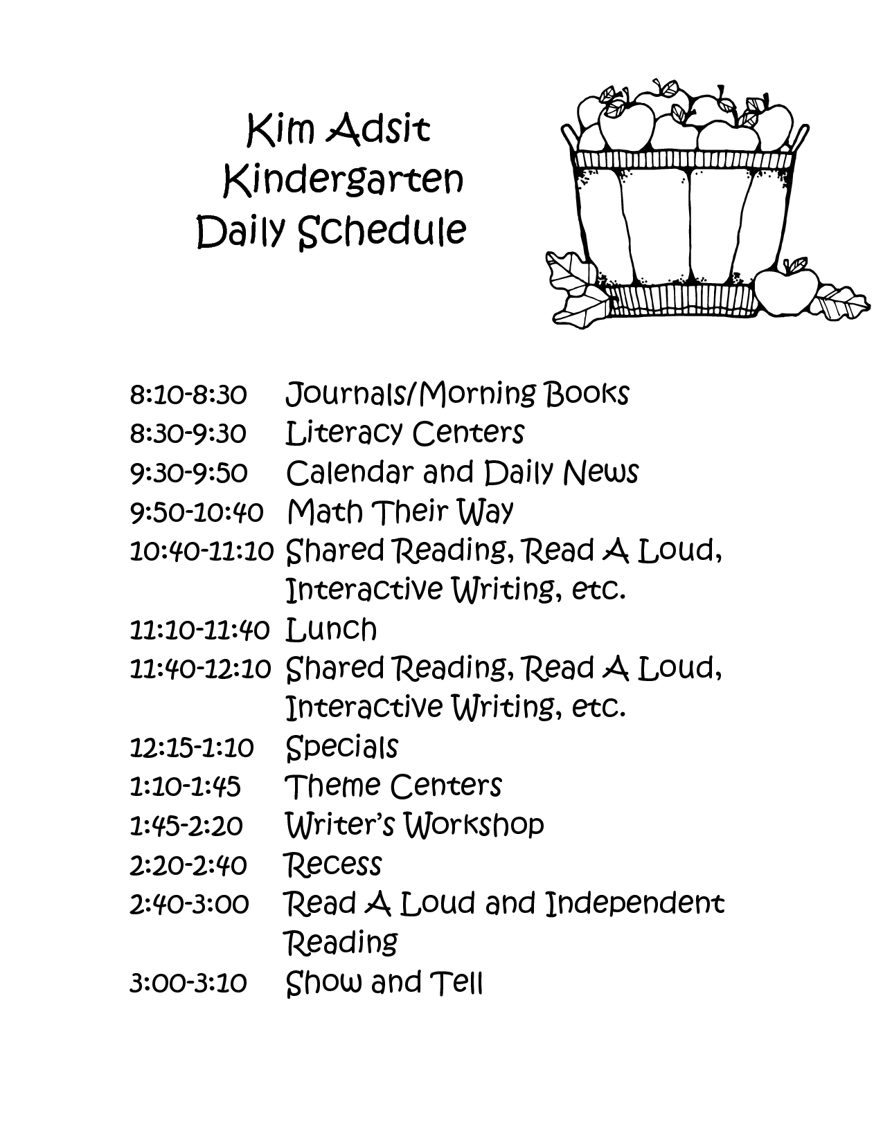 Full Day Kindergarten Class Schedule