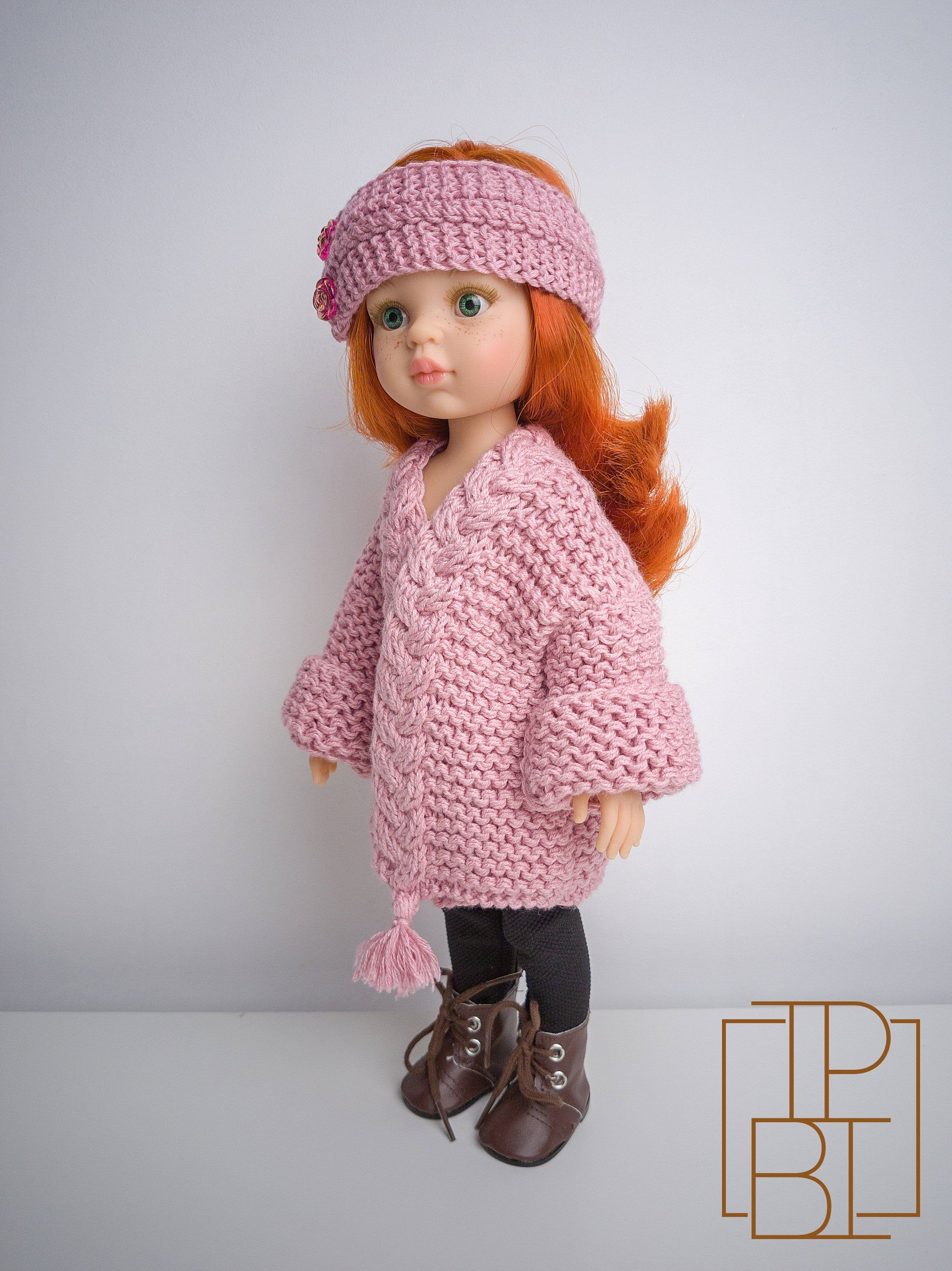 Paola Reina Doll Chunky Cardigan - Knitting Pattern for 13 Paola Doll and Little Darling Doll
