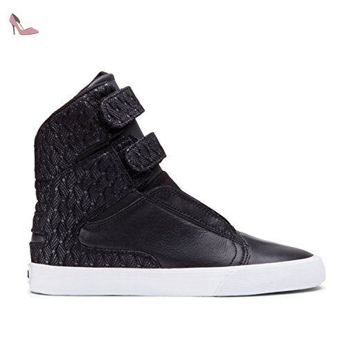 Supra Cuba, Sneakers Basses Mixte Adulte, Gris (Charcoal Heather/Black-White CHT), 40