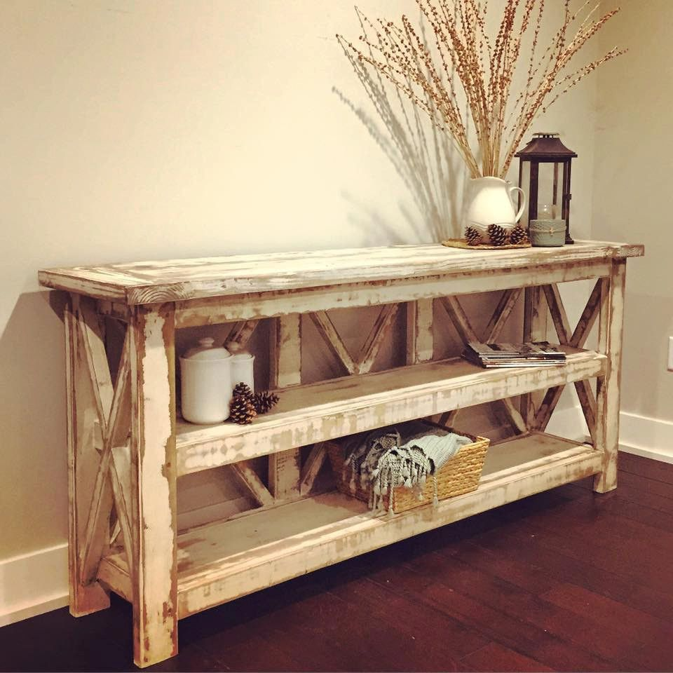 Distressed Farmhouse Living Room: Distressed Country Farmhouse Console